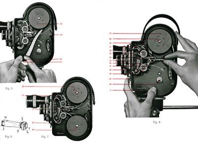 Paillard-Bolex Model H Movie Camera, Figs. 5-8